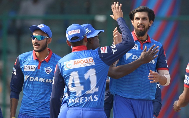 New Delhi: Delhi Capitals' Ishant Sharma celebrates the dismissal of Liam Livingstone with teammates during the 53rd match of IPL 2019 between Delhi Capitals and Rajasthan Royals at Feroz Shah Kotla Stadium in New Delhi on May 4, 2019. (Photo: Surjeet Yadav/IANS)