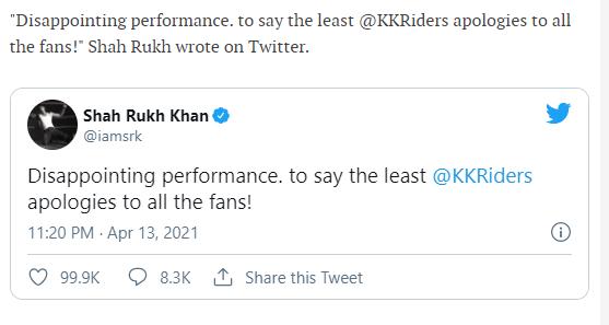 Shah Rukh Khan tweets an apology
